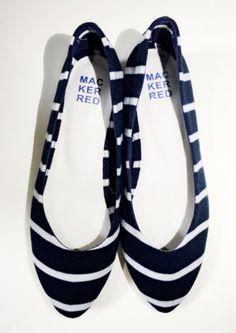 stripe shoes red & navy