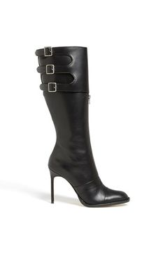 Manolo Blahnik Tall Leather Boot. Side buckles and front zipper <3 Not a huge fan of the front zipper though.