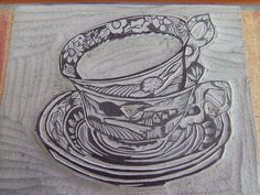 Neat ideas of how this artist uses print on items such as bags and cards.  linocut teacups | Flickr - Photo Sharing!