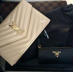 YSL Saint Laurent Nude/Powder wallet on chain WOC bag and Prada key holder pouch