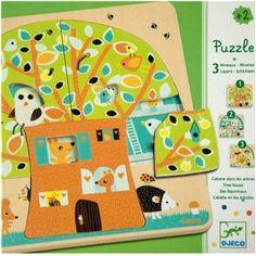 3 Schichten Kleinkind Puzzle Baumhaus der Tiere aus Holz von Djeco