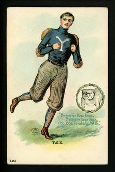 College Boy postcard Yale University New Haven, CT bulldog Football Ulman 1905
