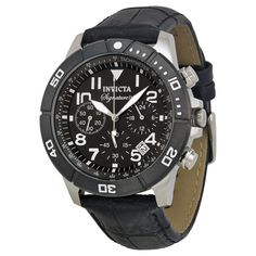 Invicta Signature II Chronograph Black Dial Leather Strap Mens Watch 7345 3e329e2c161