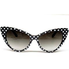 82b6f6332027 Cat Eye Vintage Retro Polka Dots Sunglasses Womens Wm501 (black white