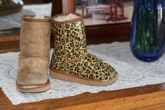 Repurpose beat up boots....leopard print uggs...using duct tape!! Or use any other patterned duct tape to make unique boots.