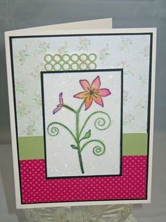 Whimsical Flowerblog-with clear glitter,  I love this cute stamp.  I will have to get it.