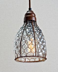 Over the bar?  Chicken Wire & Glass Pendant | Nicola's Home