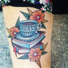 Post with 1349 views. Coffee, books, & flowers (my first tattoo) by Brad Stevens @ New York Adorned, New York City, NY Coffee Cup Tattoo, Coffee Tattoos, Traditional Tattoo Flowers, Neo Traditional Tattoo, American Traditional, Traditional Sleeve, Bookish Tattoos, Literary Tattoos, First Tattoo