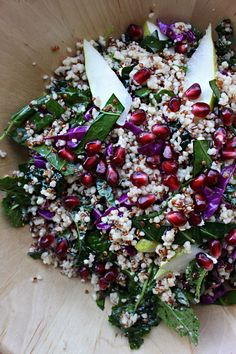 Ladies and gentlemen: the most obnoxiously healthy salad in the entire universe. #kale #quinoa #pomegranate
