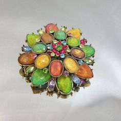 Vintage Rhinestone Brooch.  Large. Fruit Salad Style. Green, Yellow, Orange, Pink, Purple Pin.