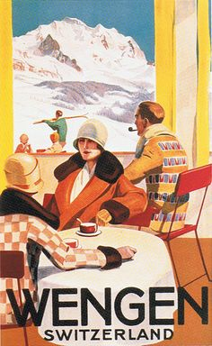 Wengen Switzerland Coffee Tourism Alps Ski Winter Sport Vintage Poster FREE S/H