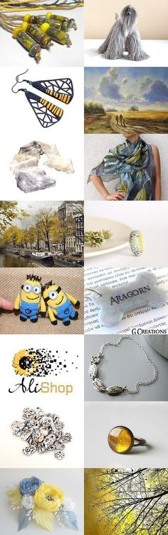Yellow and Gray by Linda Karen on Etsy--Pinned with TreasuryPin.com