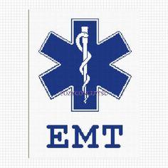 STAR OF LIFE EMT EMS CROSS SYMBOL CROCHET AFGHAN PATTERN GRAPH