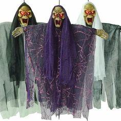 2016 Halloween Decoration Prop Electric Voice Hanging Skull Skeleton Ghost Hanging Halloween Escape Horror Props Creative Gift