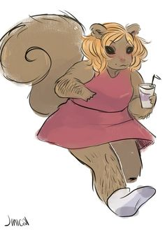 doodle of a squirrel girl from yesterday!