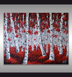 ORIGINAL Art Modern Red Birch Trees Painting Aspen by ZarasShop