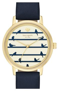 kate spade new york 'birds on a wire - metro' leather strap watch, 34mm available at #Nordstrom