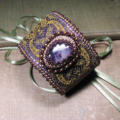 Purple Quartz Cuff, Jacquard Tapestry Ribbon, Gold and Plum Beaded Bezel, Olive Green Ribbon by sylviawindhurst, via Flickr
