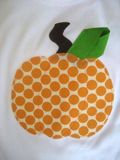 pumpkin shirt. cute with ric rak stem and ribbon leaf