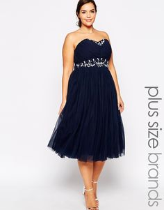 Image 1 ofLovedrobe Strapless Prom Dress With Embellished Waist and Neckline