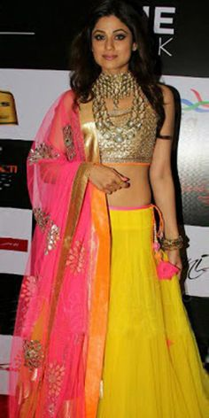 Shamita Shetty Net Border Work Semi Stitched Yellow Bollywood Style Lehenga - 9084