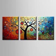 Peinture à l'huile réalisée à la main abstraite sur canevas tendu - Set de 3 - EUR € 87.26