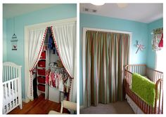 Before U0026 After: Hiding The Great Wall Of Clothes | Panel Curtains, Closet  Doors And Doors