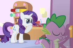 Rarity: oh spike, i'm so sorry, i didn't mean it! (spike shuts the door and leaves with tears) Rarity: oh, what have i done?
