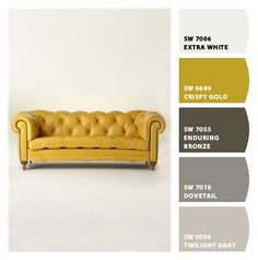 Yellow Couch + paint palette. This matches our colors almost perfectly