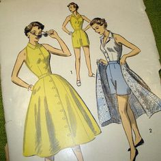 1950s playsuit inspiration.  I love the solid top & bottoms with coordinating print skirt.
