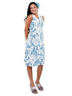 b50d137229a Hibiscus Monstera Light Blue Rayon Sleeveless Bias Dress Hawaiian Dresses