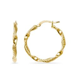 Round hoop earrings in 14k yellow gold feature an interesting unwraveling twisted rope design for added texture. Handmade in Italy.
