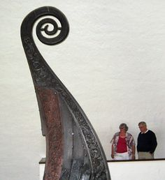 Oslo viking ship museum. Scale of prow height shown | Oseberg ship.