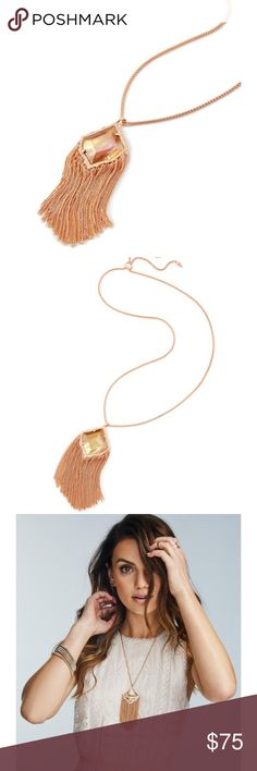 Kendra Scott Kingstone necklace Kendra Scott rose gold Kingston necklace. Slide for adjustable length. Beautiful rose gold with brown mother of pearl. NWOT Kendra Scott Jewelry Necklaces