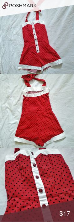 NWOT Pin Up Rockabilly Polka Dot Halter Romper 4 Brand New without tags, Discontinued design from Hearts & Roses London Pin Up / Rockabilly Red Polka Dot Halter Romper in size 4.   This adorable red polka dot Romper features a Halter style neckline, elastic trim on rear top to allow for all busts sizes, faux button front with white trim on a Sweetheart neckline & legs. side zip.   Measurements: bust-26 flat, 36 stretched  Waist-26 Hip-35 Inseam to bottom hem-2  Rear top to inseam-25 Front…