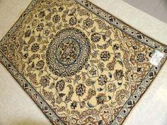 ペルシャ絨毯ドアマットのナイン産シルクウール55231、ナイン玄関絨毯ペルシャ