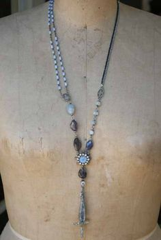 Spindrift handmade found object necklace with rosary by mocknet, $250.00