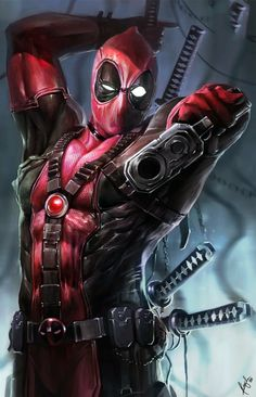 Deadpool by Ceasar Ian Muyuela. Features Deadpool holding a gun upside down with samurai swords strapped to his back. Marvel Dc Comics, Marvel Avengers, Heros Comics, Bd Comics, Archie Comics, Marvel Heroes, Comic Book Characters, Comic Book Heroes, Marvel Characters