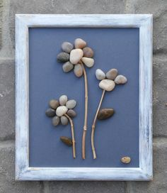 """Pebble Art flower bouquet on a wintery blue background in rustic cream and blue 8.5 x 11 """"open"""" wood frame (FREE SHIPPING). by CrawfordBunch on Etsy"""