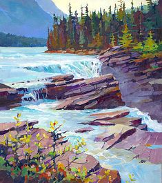 40 Acrylic Palette Knife Painting Techniques and Ideas - Cartoon District Watercolor Background, Watercolor Paintings, Landscape Artwork, Acrylic Landscape Painting, River Painting, Waterfall Paintings, Palette Knife Painting, Canadian Art, Art Abstrait