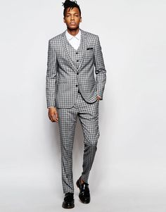 ASOS+Skinny+Suit+In+Check+In+Grey