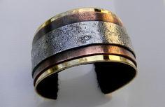 bracelet manchette laiton cuivre zinc intérieur cuir : Bracelet par alliage-kristin