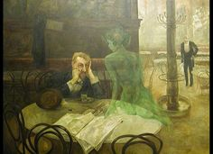 """In the 19th century, the anise-flavored spirit absinthe was popular among European bohemians. Even though its hallucinogenic effects have been exaggerated, a number of painters have sought to capture the """"green monster."""" Above, Czech painter Viktor Oliva's """"Absinthe Drinker"""""""
