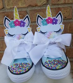 Items similar to Uniorn Bling Shoes - Birthday Outfit - Custom Shoes - Shoes - Unicorn Birthday Outfit on Etsy Unicorn Themed Birthday Party, 10th Birthday Parties, Unicorn Party, Baby Birthday, Birthday Outfits, Bling Baby Shoes, Baby Girl Shoes, Kid Shoes, Baby Bling