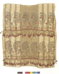 Late-Ottoman 'havlu' (towel). 19th century. Embroidered with polychrome silk and metal threads on linen. This is 'two-sided embroidery' (front and rear are identical). Technique: 'pesend' (double running stitch). The object could also be used as an apron in festive women's costumes (generally in Thrace and northwest Anatolia). (V&A Museum, London).V&A museum object
