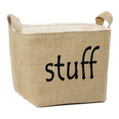 $69.00 retail  Keep your stuff together in this sturdy burlap and canvas storage basket by A Southern Bucket. Dimensions: 8H x 8.5W x 8.5D Design Color: Black Fabric: Natural Burlap and Unbleached Canvas Care: Dust inside with lint roller as needed Shipping: Ships within 1-3 business days  ALL DESIGNS, DESCRIPTIONS, PHOTOS AND CREATIVE CONTENT ARE COPYRIGHT © BY a southern bucket ® 2011-present. All Rights Reserved.