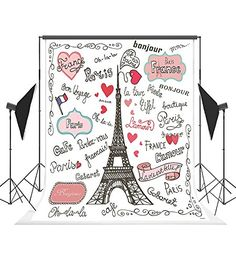Allenjoy Photographic Background World Buildings Eiffel Tower Hearts Wooden Table Travle Backdrop Decor Prop Photocall Fabric Consumer Electronics