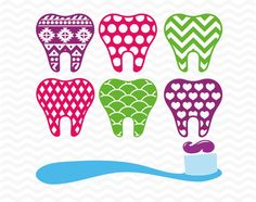 Patterned teeth toothbrush SVG DXF EPS Vinyl by ESIdesignsdigital