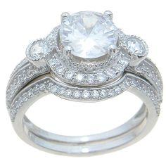 Plutus Sterling High Polish Round Cut CZ Halo Setting 2. TCW Vintage Style Wedding Ring Set