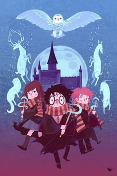 This is so pretty! I need to buy this!  Brave Wizarding a Harry Potter Homage poster by theGorgonist, $20.00